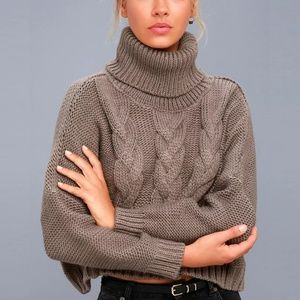 Jack by BB Dakota Hobie Cropped Cable Knit Sweater